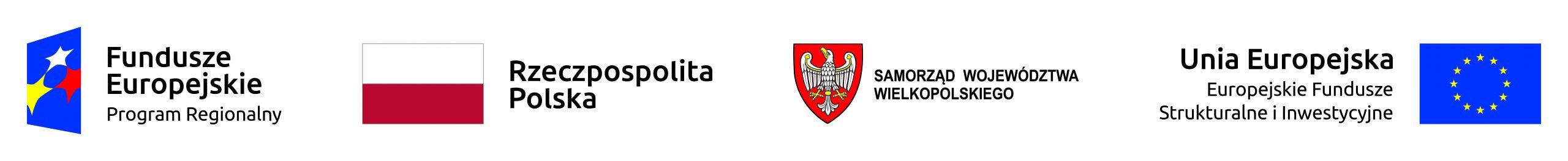 Obraz ukazujący następujące loga: Fundusze Europejskie Program Regionalny, Rzeczpospolita Polska, Samorząd Województwa Wielkopolskiego i Unia Europejska