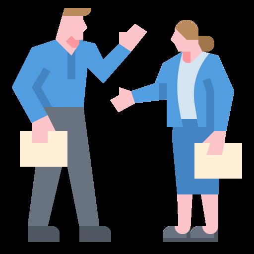 Obraz ukazujący postacie dwóch osób - kobiety i mężczyzny, którzy trzymają w dłoniach dokumenty i machają do siebie