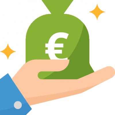 Obraz ukazujący dłoń, na której znajduje się woreczek z pieniędzmi