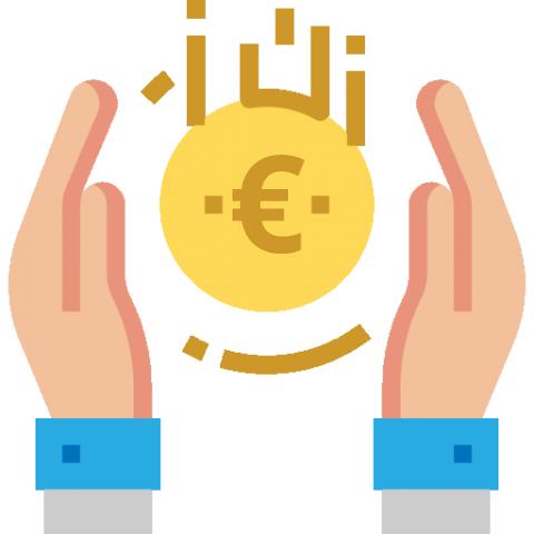 Obraz ukazujący dwie dłonie, po środku których znajduje się moneta