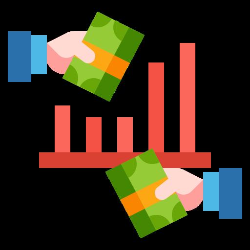 Obraz ukazujący banknoty w dwóch dłoniach, a w tle wykres słupkowy